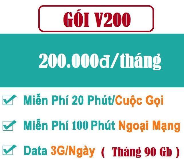 Gói V200K – Gói cước combo thoại + data siêu hấp dẫn cho thuê bao trả sau